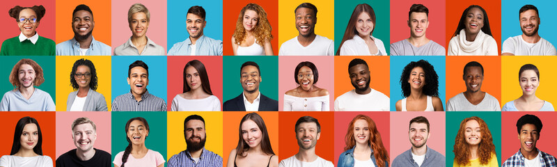 Mosaic Of Faces Of Multiethnic People Posing On Colorful Backgrounds