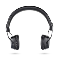 Wireless black on-ear headphones isolated on white