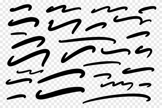 Vector collection of hand drawn underline on white background