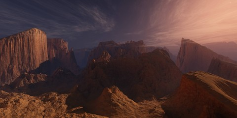 Photo sur Aluminium Marron chocolat Planet Mars, an alien at sunset, the surface of Mars, canyons on Mars, 3D rendering