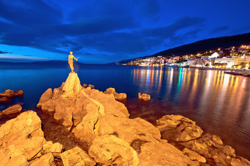 Opatija bay statue and waterfront at sunset view Wall mural
