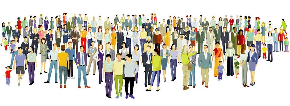 Große Gruppe von Menschen auf weißem Hintergrund.Vektor Illustration