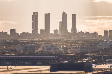 Cityscape of Madrid Skyline and Airport (Madrid, Spain)