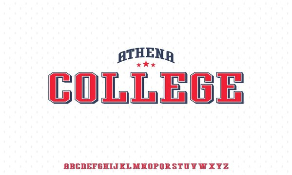 ATHENA COLLEGE, VARSITY HIGH SCHOOL SPORTY UNIVERSITY FONT ALPHABET