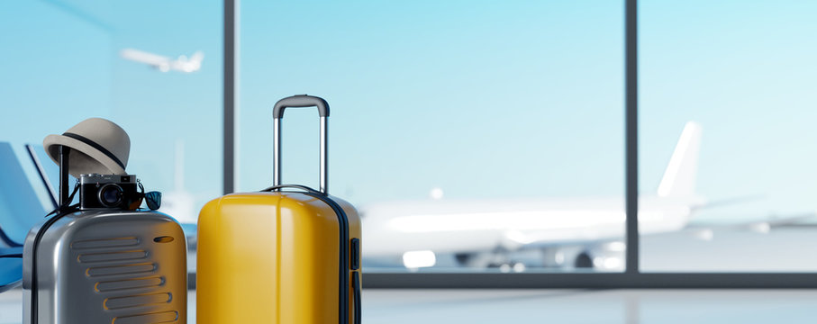 Suitcases in airport on blurred airstrip background. Travel concept. 3d rendering