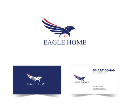Eagle Mortgage Logo . Eagle Home Logo Design stock vector Illustration. eagle house Logo . Eagle real estate logo template American.