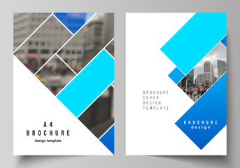 Photo sur Plexiglas Taupe The vector layout of A4 format modern cover mockups design templates for brochure, magazine, flyer, booklet, annual report. Abstract geometric pattern creative modern blue background with rectangles.