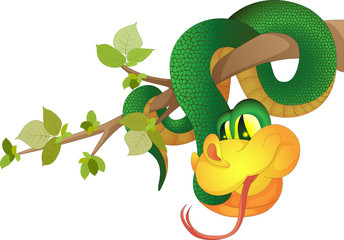 The image of a green snake hanging on a tree branch made in cartoon style, but having a volume.