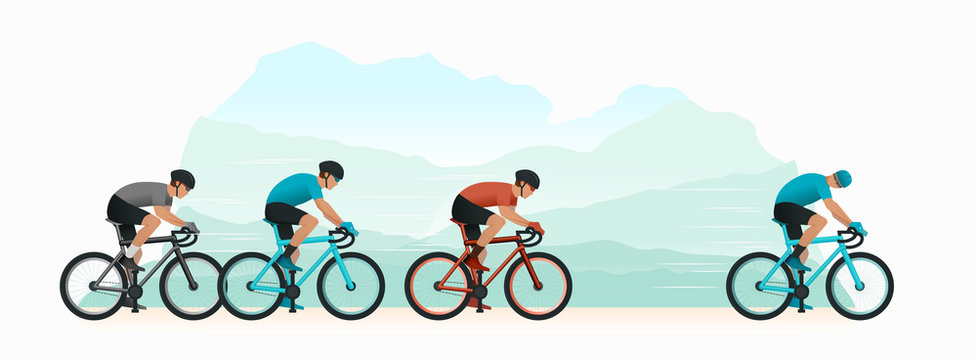 Cycling in nature. Cyclists chase the leader of the race. The head of the peloton. The cyclist looks back at the pursuers. Vector illustration. flat style