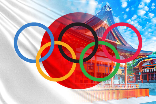 Olympics in Japan. Summer Olympic Games 2020. The logo of the Olympics on the background of Tokyo. The flag of Japan next to the Japanese-style building. A trip to the Olympics. Travels