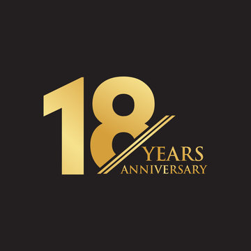 18th year anniversary logo design template