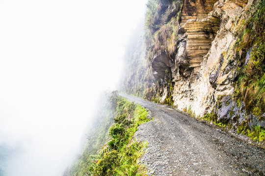 """The Worlds Most Dangerous Road at altitude 4700 m , called """"Death road"""" in Bolivia."""