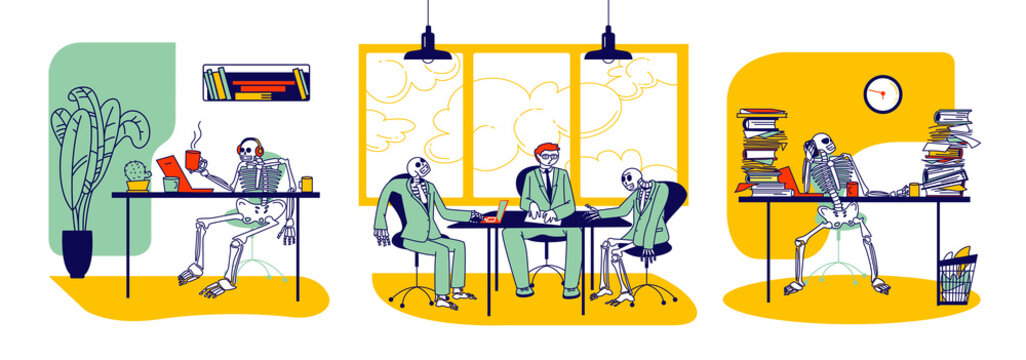 Workaholic and Overload Workers Concept. Skeletons Business Characters and Alive People Working in Office. Negotiation, Paperwork, Drink Coffee. Work till Die, Deadline. Linear Vector Illustration