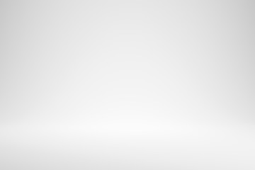 Blank white gradient background with product display. White backdrop or empty studio with room floor. 3D rendering.