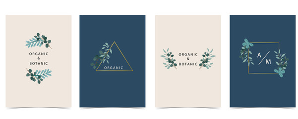 Wall Mural - Collection of natural background set with leaf,geometric.Editable vector illustration for website, invitation,postcard and sticker