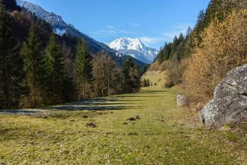Fototapete - Blick zu einem schneebedeckten Berg in Tirol