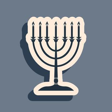 Black Hanukkah menorah icon isolated on grey background. Religion icon. Hanukkah traditional symbol. Holiday religion, jewish festival of Lights. Long shadow style. Vector Illustration