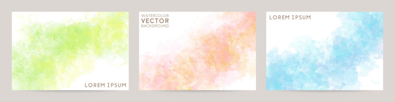 colorful watercolor vector background set