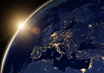 Spoed Fotobehang Heelal Planet Earth at night, view of city lights showing human activity in Europe and Middle East from space. Elements of this image furnished by NASA.