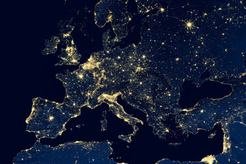 Earth at night, view of city lights showing human activity in Europe from space. Elements of this image furnished by NASA.