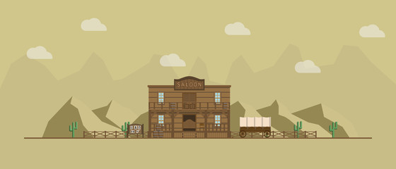 Saloon building on a wild west landscape background.