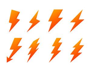 lightning bolt  flash icons set. electricity power. yellow thunder isolated on white background. vector Illustration.