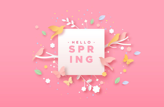 Hello spring papercut nature icon and paper frame