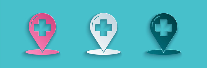Paper cut Medical map pointer with cross hospital icon isolated on blue background. Paper art style. Vector Illustration