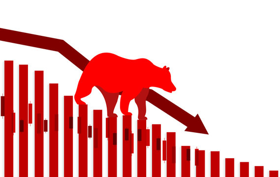 Stock market. Candle stick graph chart of stock market investment trading. Bullish point, down trend of graph. Bear Market. red background. Vector.