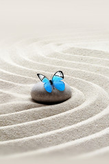 Photo sur Plexiglas Zen pierres a sable garden meditation stone background and butterfly with stones and lines in sand for relaxation balance.