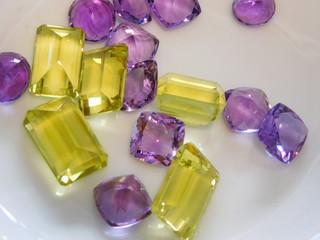 purple and yellow gemstones