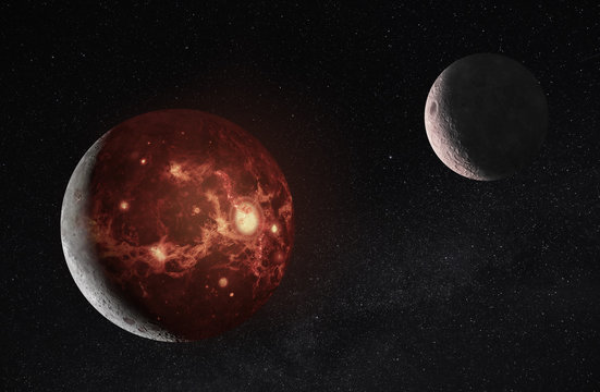 3D illustration of Molten planet and moon