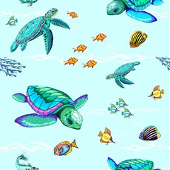 Spoed Fotobehang Draw Sea Turtles Dance Oceanlife Vector Seamless Repeat Pattern