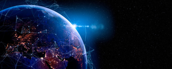 Fotorolgordijn Nasa Communication technology for internet business. Global world network and telecommunication on earth and IoT. Elements of this image furnished by NASA