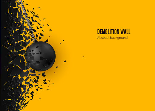 Destruction effect. Abstract cloud of pieces and fragments after wall demolition by wrecking ball. Vector