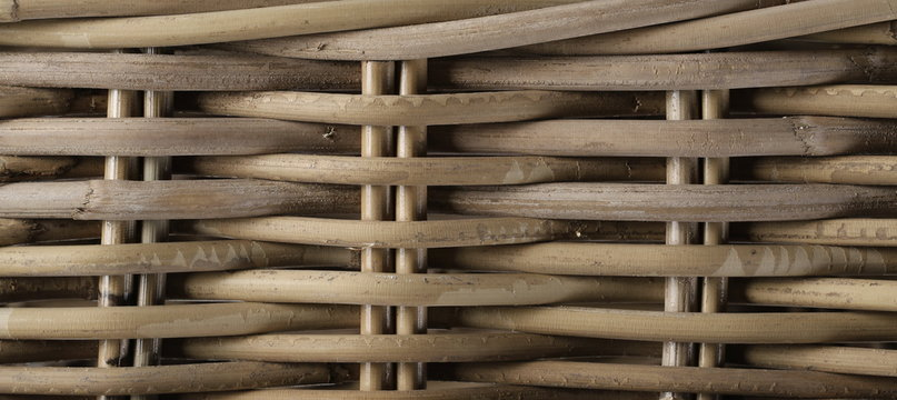 Wooden wicker background and texture