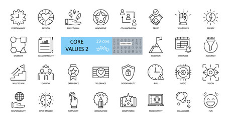 Set of icons core values. 29 vector images with editable stroke. Includes such qualities as performance, passion, diversity, exceptional, innovative, accountability, will to win, empathy, open-minded