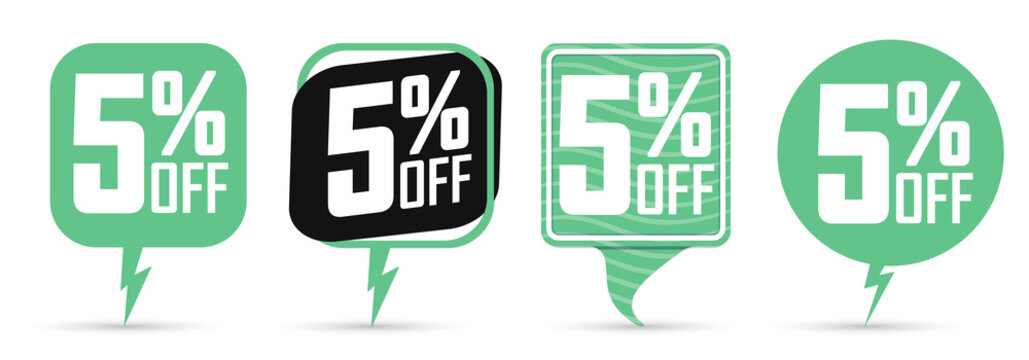 Set Sale 5% off speech bubble banners, discount tags design template, vector illustration