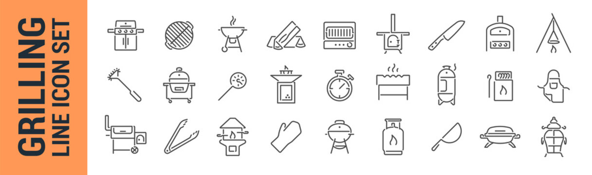 Grilling vector isolated line icon set. BBQ barbecue grill