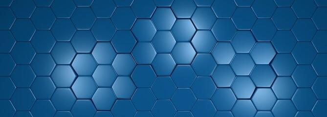 szerokie tło geometryczne niebieskie metaliczny hexagon z refleksami światła. Ilustracja 3D