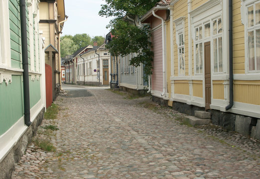 Wooden Buildings in Old Rauma, Finland