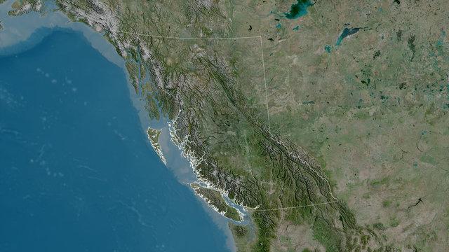 British Columbia, Canada - outlined. Satellite