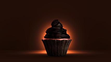 Cupcake à la crème au chocolat noir. Rendu 3D