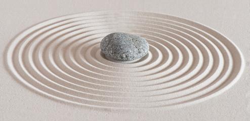 Obraz Japanese zen garden with stone in textured white sand - fototapety do salonu