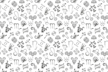 Black and white seamless pattern of 12 symbols and zodiac signs emblems. Monochrome astrological texture from mystical drawings drawn by hand. For fabric, textile, phone cases, etc. Vector.