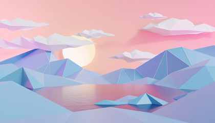 Zelfklevend Fotobehang Lichtroze Mountain And Lake Landscape In Low Polygon Style Background, 3D Render.