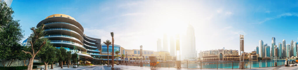 Stores à enrouleur Dubai Dubai Mall, pool with famous fountains and buildings around, downtown panorama in sunny morning, United Arab Emirates.