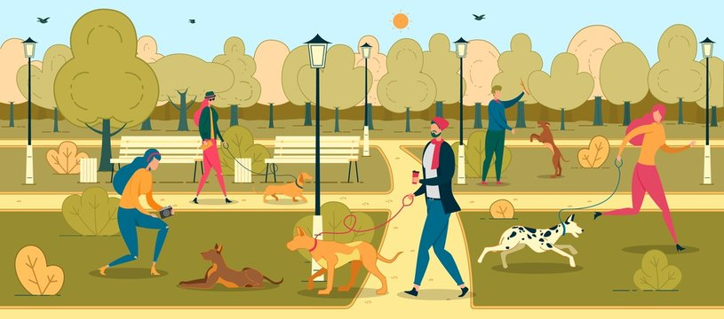 People Training Dogs in Park Flat Illustration