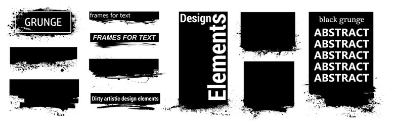 Fotobehang - Black grunge for text with frame and Splashes. Dirty artistic design elements, boxes, frames for text. Black splashes isolated. Vector Set of black paint, ink brush strokes, brushes, lines. Vector