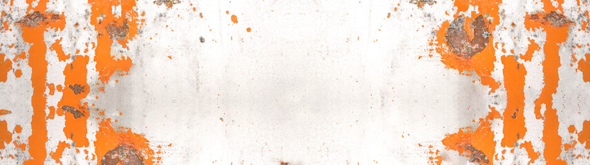 Rusty abstract white orange painted scratched peeled exfoliated metal texture background banner, with space for text Fototapete